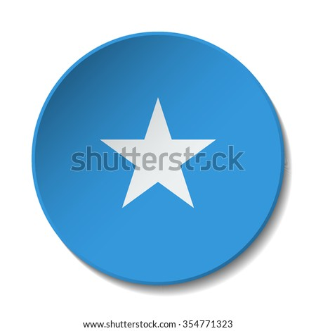 Somalia Flag Button. Vector icon flag of Somalia on white background. Paper cut style country flag.  - stock vector