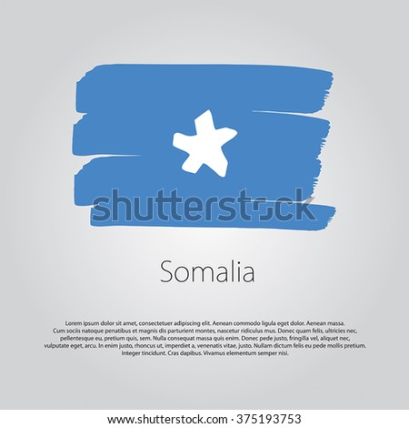 Somalia Flag with colored hand drawn lines in Vector Format - stock vector