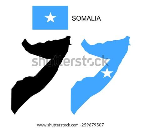 Somalia map and flag vector, Somalia map, Somalia flag - stock vector