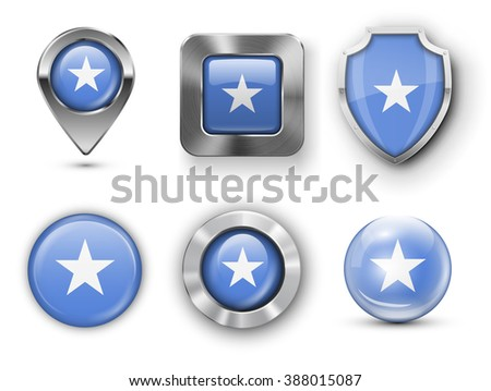 Somalia Metal and Glass Flag Badges, Buttons, Map marker pin and Shields. Vector illustrations - stock vector
