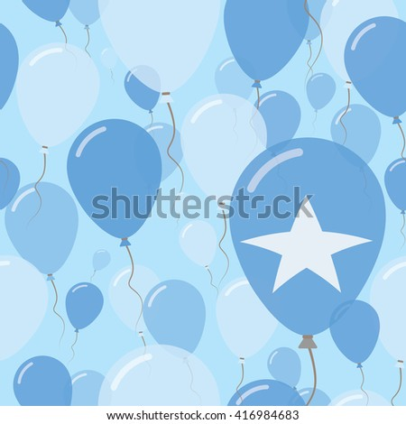 Somalia National Day Flat Seamless Pattern. Flying Celebration Balloons in Colors of Somali Flag. Happy Independence Day Background with Flags and Balloons. - stock vector