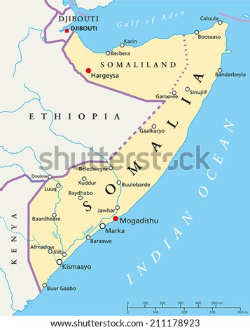 Somalia Political Map with capital Mogadishu, with national borders, most important cities and rivers. Illustration with English labeling and scaling. - stock vector
