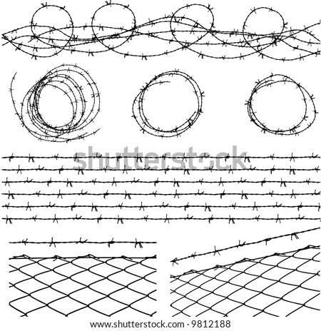 some barbed wire elements with fence and a barbed wire seamless module in a separate layer - stock vector