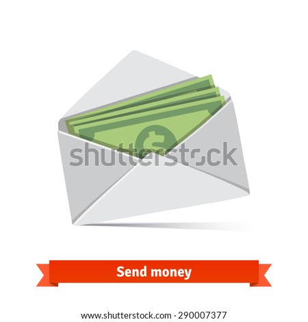 Some dollar bills in white envelope. Send money concept. Flat vector icon. - stock vector