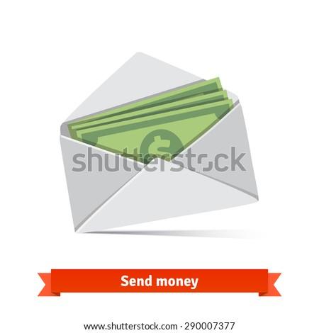 Some dollar bills in white envelope. Send money concept. Flat vector icon. - stock vector