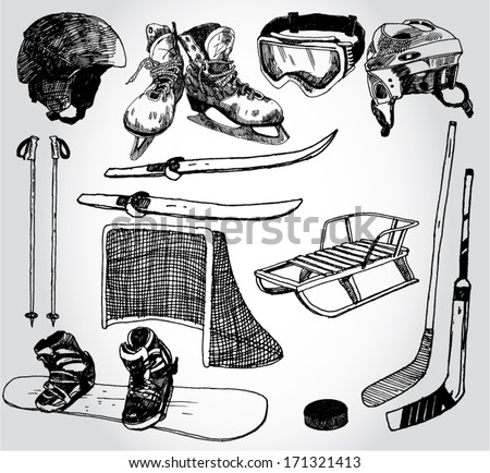 Some Doodled Winter Sports Stuff - stock vector