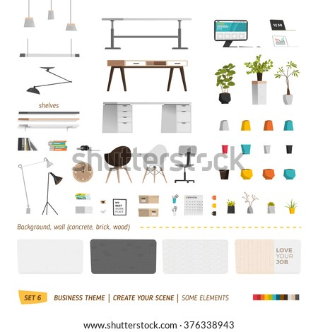 Some office furniture. Create your interior - stock vector