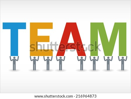 Some people holding the word team - stock vector