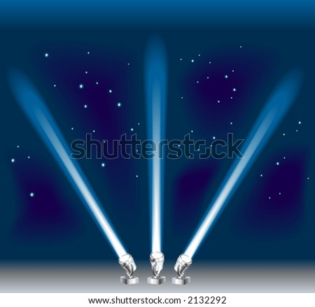 Some search/ spotlights. Shading by blends, no meshes used. - stock vector