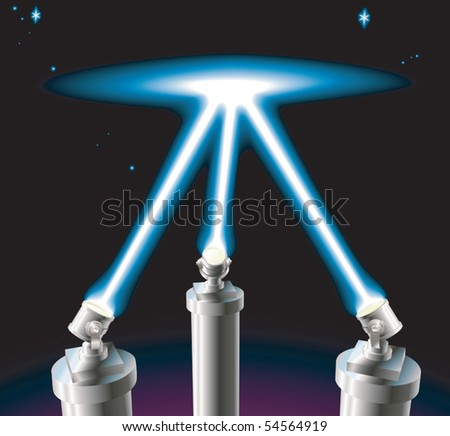 Some searchlights or spotlights lighting up the starry night sky. No meshes used. - stock vector