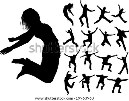 Some silhouettes of jumping girls and boys - stock vector