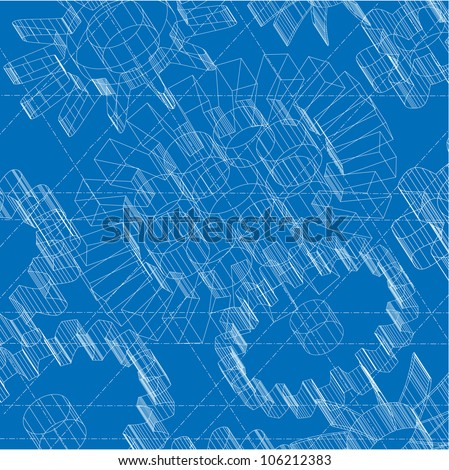 Some Technical drawing to illustrate an heavy hi tech situation or a retro machinery - stock vector
