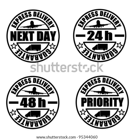 Some types of delivery services stamps - stock vector