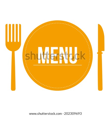 some yellow silhouettes of dishes and utensils for menu design - stock vector