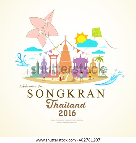 Songkran Festival Period of April, in the summer of Thailand with water,, design background, vector illustration - stock vector