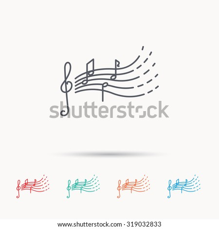 Songs for kids icon. Musical notes, melody sign. G-clef symbol. Linear icons on white background. Vector - stock vector