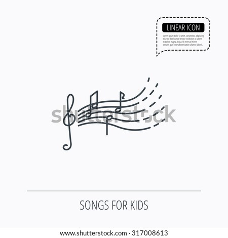 Songs for kids icon. Musical notes, melody sign. G-clef symbol. Linear outline icon. Speech bubble of dotted line. Vector - stock vector