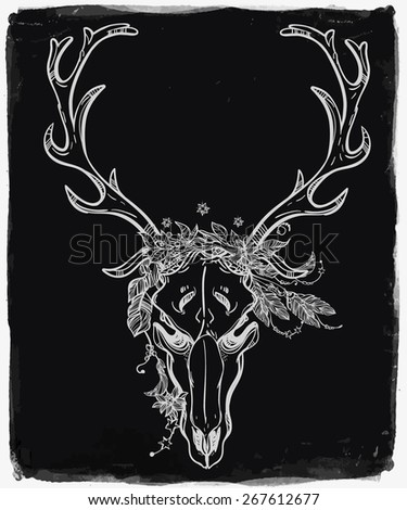 Sophisticated scull tattoo line art. Vintage deer, bull, elk, horns. Antlers with branches, leaves beads and feathers in a star crown. Hand drawn. Vector illustration. Isolated. Chalk on blackboard.   - stock vector
