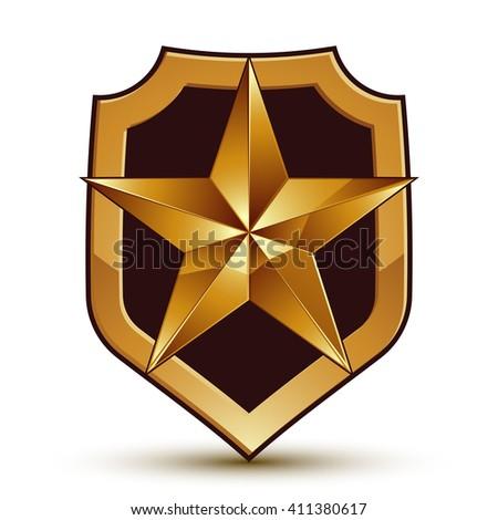 Sophisticated vector blazon with a golden star emblem, 3d pentagonal design element   - stock vector