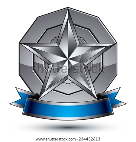 Sophisticated vector emblem with silver glossy star and blue wavy ribbon, 3d decorative design element, clear EPS 8. - stock vector