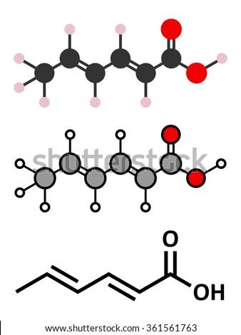 Sorbic acid food preservative molecule. Sorbate (sodium, potassium, calcium) also used for same purpose. Stylized 2D renderings and conventional skeletal formula.  - stock vector