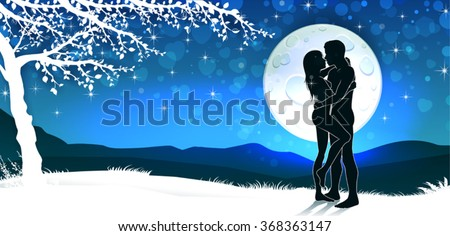 Soulmate couple silhouette with sunrise and vertical landscape-transparency blending effects and gradient mesh-EPS 10 - stock vector