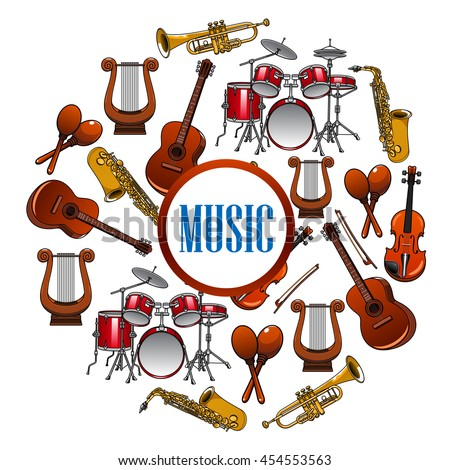 Sound equipment and music instruments . Trap set or drum kit, acoustic guitars and violin,lyre and saxophone, trumpet.  Woodwind, string, brass, percussion used in jazz, rock, pop, disco - stock vector