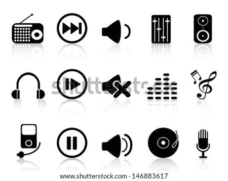 sound icons set - stock vector