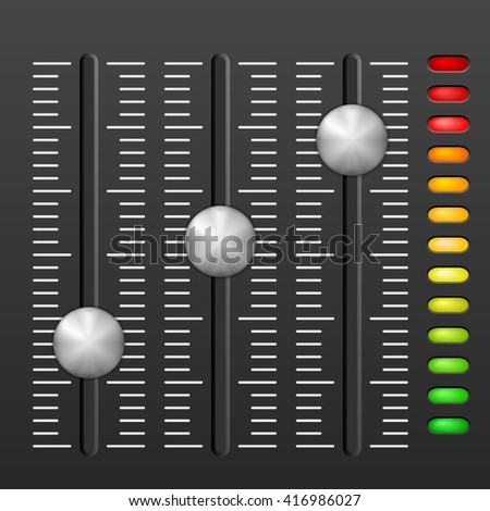 Sound mixing console on black background. - stock vector