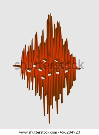 Sound range curve with musical note sign within - stock vector