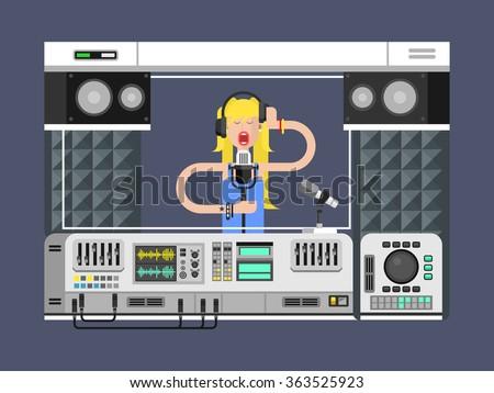Sound recording studio - stock vector