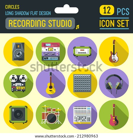 Sound recording studio flat long shadow circle icon set. Vector trendy illustrations.  - stock vector