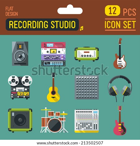 Sound recording studio flat long shadow icon set. Vector trendy illustrations.  - stock vector