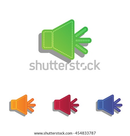 Sound sign illustration with mute mark. Colorfull applique icons set. - stock vector