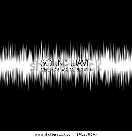 sound wave design over black background vector illustration - stock vector