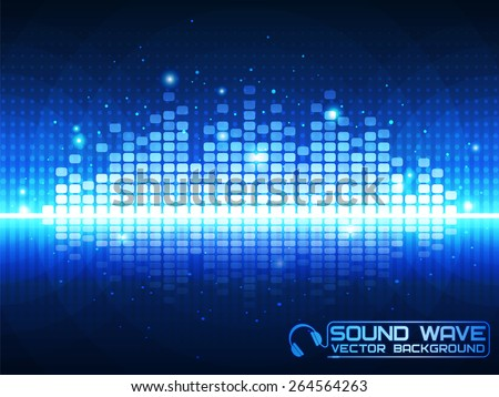 Sound wave. Vector Illustration of a blue music equalizer. EPS10. - stock vector