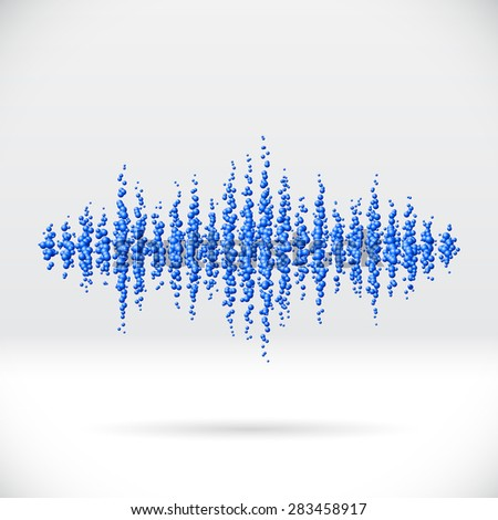Sound waveform made of chaotic scattered blue balls - stock vector