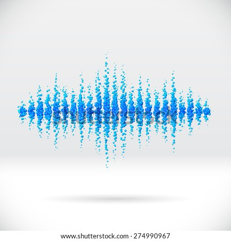 Sound waveform made of water themed scattered blue balls - stock vector