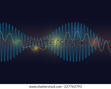 Sound waves background - stock vector