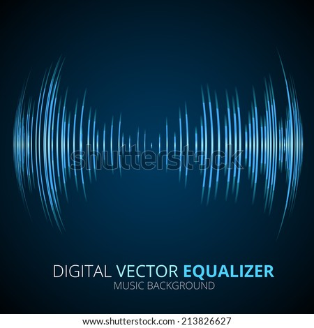 Sound waves oscillating equalizer on black background - stock vector