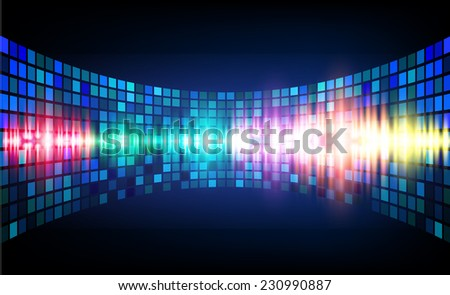 Sound waves oscillating glow blue light, Abstract graphic computer technology background. Vector. pixels mosaic background. - stock vector