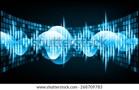 Sound waves oscillating glow blue light, Abstract technology background. table, mosaic. pixels. Security - stock vector