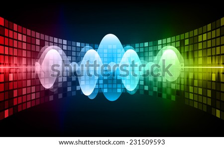 Sound waves oscillating glow yellow green red light, Abstract technology background. Vector. pixel. - stock vector