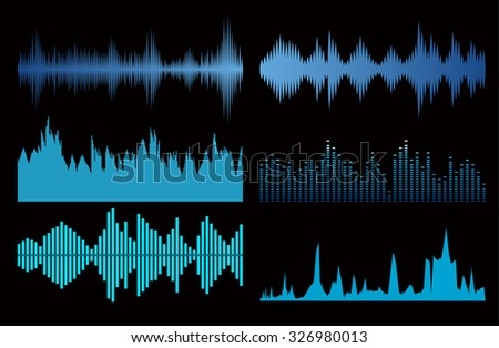 Sound waves set on black background. Best music signs - stock vector