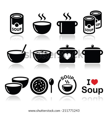 Soup in bowl, can and pot - food icon set    - stock vector