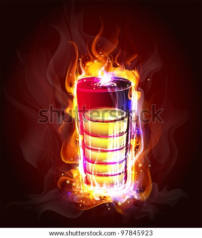 source of energy in the flame  (Vector Illustratio) - stock vector