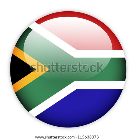 South Africa flag button on white - stock vector