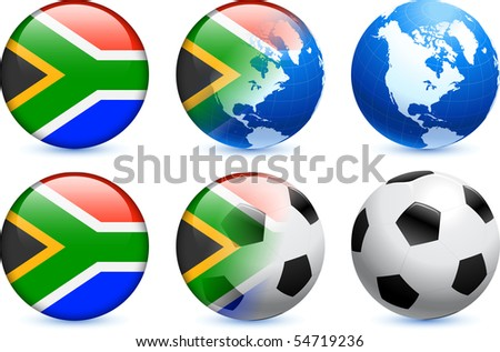 South Africa Flag Button with Global Soccer Event Original Illustration - stock vector