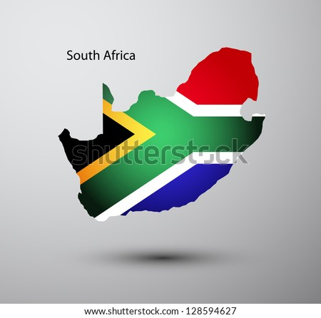 South Africa flag on map of country - stock vector