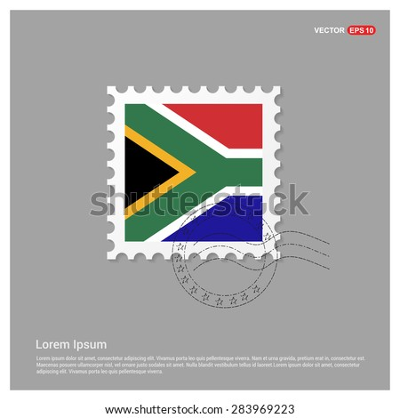 South Africa Flag Postage Stamp on white background. Vector illustration. - stock vector